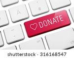 online donate key on keyboard | Shutterstock . vector #316168547