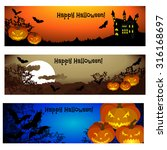 three halloween banners. vector. | Shutterstock .eps vector #316168697