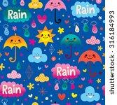 umbrellas rain seamless pattern | Shutterstock .eps vector #316184993