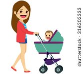 beautiful young single mom... | Shutterstock .eps vector #316202333