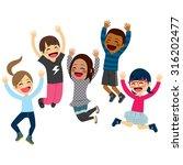 cute happy children jumping... | Shutterstock .eps vector #316202477