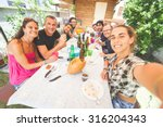 group of people taking selfie... | Shutterstock . vector #316204343