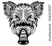 wild boars head | Shutterstock .eps vector #316210037