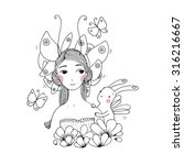 beautiful young girl ... | Shutterstock .eps vector #316216667