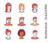 Human Faces Icons Thin Line Se...