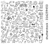 toys hand drawn doodle set.... | Shutterstock .eps vector #316259453