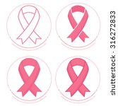 vector set of pink ribbons... | Shutterstock .eps vector #316272833