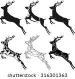 stylization leaping deer for... | Shutterstock .eps vector #316301363