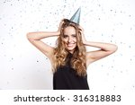 young woman in a celebratory... | Shutterstock . vector #316318883