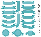 vector blue ribbons set | Shutterstock .eps vector #316321043