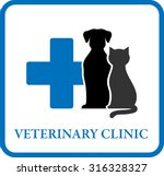 Stock vector veterinary clinic icon with pet silhouette and blue cross 316328327