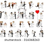set of wedding pictures  bride... | Shutterstock .eps vector #316368263