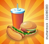 vector fast food cartoon poster.... | Shutterstock .eps vector #316380383