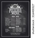chalkboard pizzeria menu list... | Shutterstock .eps vector #316400327