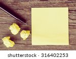 yellow crumpled papers put on... | Shutterstock . vector #316402253