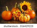 Autumn Pumpkins  Asters And...