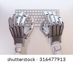 Robot Typing On Conceptual...