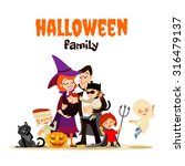 Cute Cartoon Family In Various...