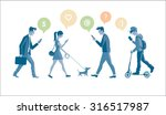 people with phones sending sms...   Shutterstock .eps vector #316517987