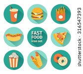 vector icon set fast food. flat ... | Shutterstock .eps vector #316547393