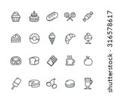 bakery and pastry icons set.... | Shutterstock .eps vector #316578617