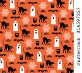 halloween ghosts and black cats  | Shutterstock .eps vector #316597337