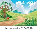 mountain landscape. cartoon and ...