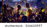 fans on stadium game panorama... | Shutterstock . vector #316610597