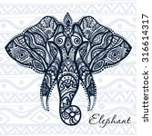 vector drawing of a elephant... | Shutterstock .eps vector #316614317