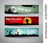 happy halloween banners set... | Shutterstock .eps vector #316629083