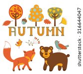 cute autumn set with woodland... | Shutterstock .eps vector #316644047