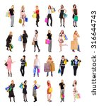 crowd of shoppers presents... | Shutterstock . vector #316644743