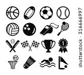 black flat set of sports... | Shutterstock . vector #316666997