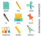 office supplies icons set. flat ...