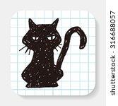 black cat doodle | Shutterstock .eps vector #316688057