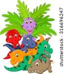 Cartoon Group Of Dinosaur