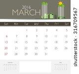 2016 calendar  monthly calendar ... | Shutterstock .eps vector #316709567