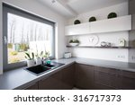 window look from kitchen in... | Shutterstock . vector #316717373