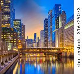 Small photo of Chicago downtown and Chicago River at night USA.