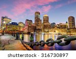 Stock photo boston harbor and financial district at twilight massachusetts in usa 316730897