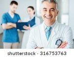 confident doctor posing and... | Shutterstock . vector #316753763