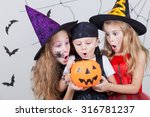 happy brother and two sisters... | Shutterstock . vector #316781237