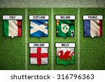 6 nations teams flags against...
