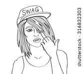 swag girl. pretty young urban... | Shutterstock .eps vector #316832303