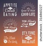 set of vintage food typographic ... | Shutterstock .eps vector #316860227