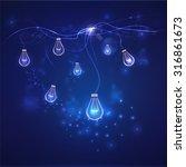 lightbulb background with blue... | Shutterstock .eps vector #316861673