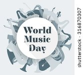 vector flat design world music... | Shutterstock .eps vector #316870307