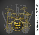 vector flat design world music... | Shutterstock .eps vector #316870313