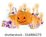 halloween party  a set of... | Shutterstock .eps vector #316886273