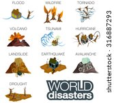 world disasters. flood ... | Shutterstock .eps vector #316887293